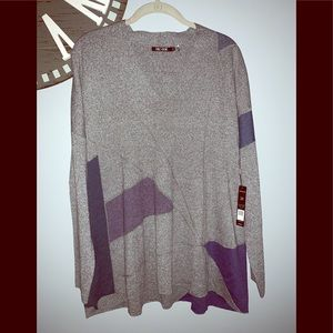 NWT Nic & Zoe gray v neck sweater size 2X